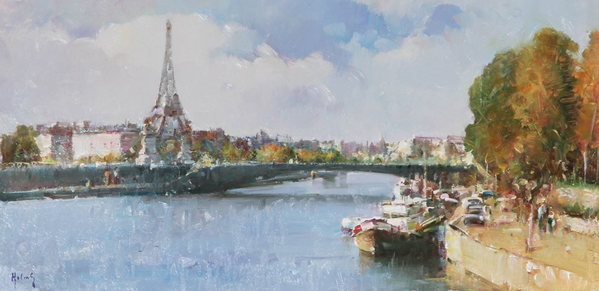 Paris VI by helios - Original on Board sized 16x8 inches. Available from Whitewall Galleries